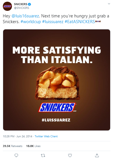real time marketing snickers